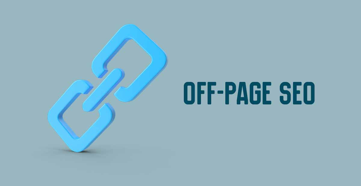 Grey background with blue text saying OFF-Page SEO