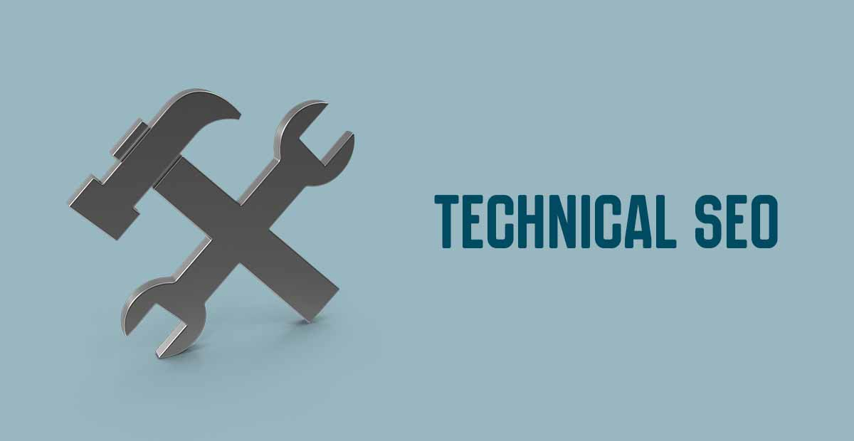 Technical SEO graphics with hammer and wrench